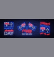 happy australia day set of neon signs collection vector image