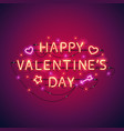 happy valentines day neon sign vector image