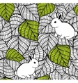 Seamless pattern with spring leaves and cute small vector image