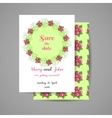 Wedding Invitation With Pink Flowers vector image
