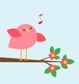 cute pink bird sings on blooming branch vector image