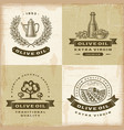 Vintage olive oil labels set vector image