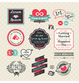 Wedding Elements labels and frames Vintage Style vector image vector image