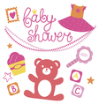 Baby shower set for girl vector image