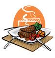 grilled beef steak vector image vector image