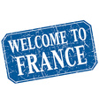 welcome to France blue square grunge stamp vector image