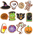 Cute halloween cookies clipart vector image