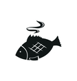 Fish simple black icon on white background vector image