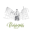 Hand drawn businessman holding growth indicator vector image