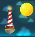 lighthouse float island cloud night vector image