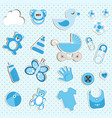 scrapbook set of baby boy things vector image