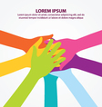 Many Colorful Teamwork People Hands Background vector image