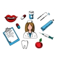 Dental medicine and dentistry icons vector image vector image