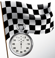 Checkered flag and stopwatch vector image