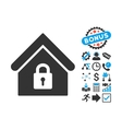 Lock Building Flat Icon with Bonus vector image