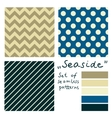 Set of simple seamless geometric patterns Seaside vector image