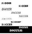 Soccer text for logo the team and the cup vector image