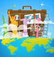 Vacation travelling composition with the bag vector image