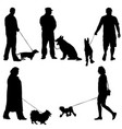 set ilhouette of people and dog vector image vector image