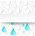 Paper water drops abstract background with banner vector image