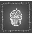 Chalk cupcake and vintage frame vector image