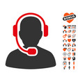 call center operator icon with lovely bonus vector image