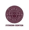 Fitness center round logo badge emblem vector image