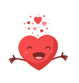 red smiling heart on white background Ar vector image