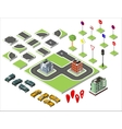 Set Isometric road and Cars Common road vector image