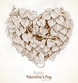 Vintage Valentine card with heart from leaves vector image