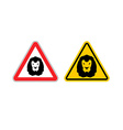 Warning sign lion attention Dangers yellow sign vector image