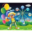 A clown with balloons near the ferris wheel vector image vector image