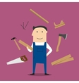 Carpenter man and professional tools vector image