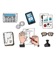 Business management and office icons vector image