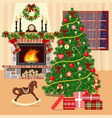 christmas decorated room with xmas tree fireplace vector image