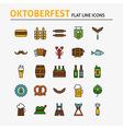 Oktoberfest Beer Colorful Flat Line Icons Set vector image