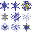 set of snowflakes icon vector image