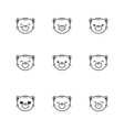 trendy line style set of funny cartoon vector image