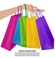 woman hand holding colorful shopping bag vector image