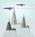 Abstract landscape design with jet planes and smok vector image
