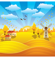 autumn rural scenery vector image