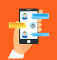 hand holding smartphone chatting with chat bot vector image