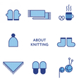 Knitted clothing Set of flat line icons Modern vector image
