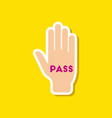paper sticker on stylish background hand pass vector image