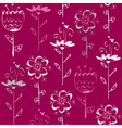 Seamless pattern with light sketch flowers on vector image