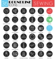 Sewing circle white black icon set Modern vector image