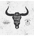 Vintage label with bull head vector image