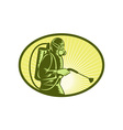 Pest control exterminator worker spraying vector image vector image
