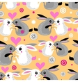 Valentine pattern of rabbits vector image vector image