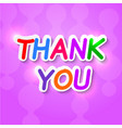 Thank you plaque on a purple background vector image